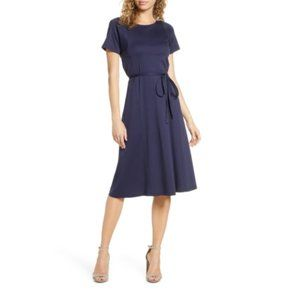 CAARA Serra Fit & Flare Dress In Blue